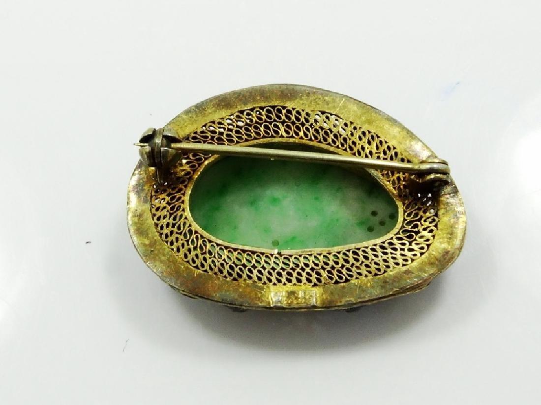 Chinese Silver & Jade Medallion Brooch W/Enamel - 4