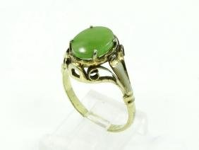 Victorian Sterl Silver & Jade Ring W/Gilt Gold