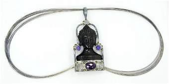 Sajen Sterling Silver Obsidian Goddess Pendant
