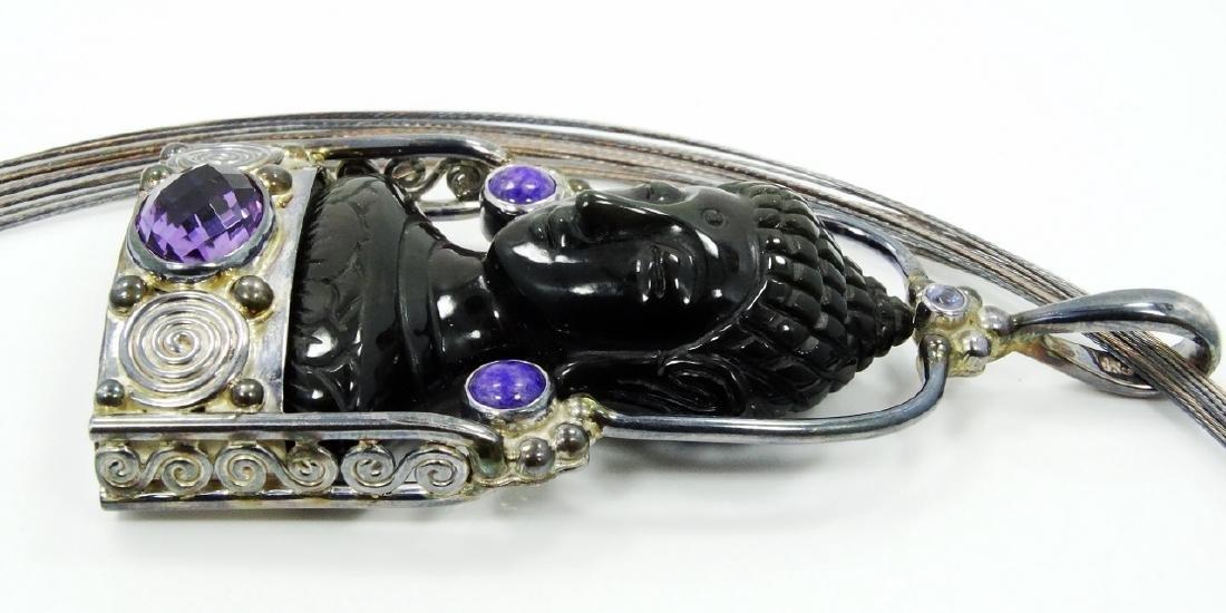 Sajen Sterling Silver Obsidian Goddess Pendant - 3