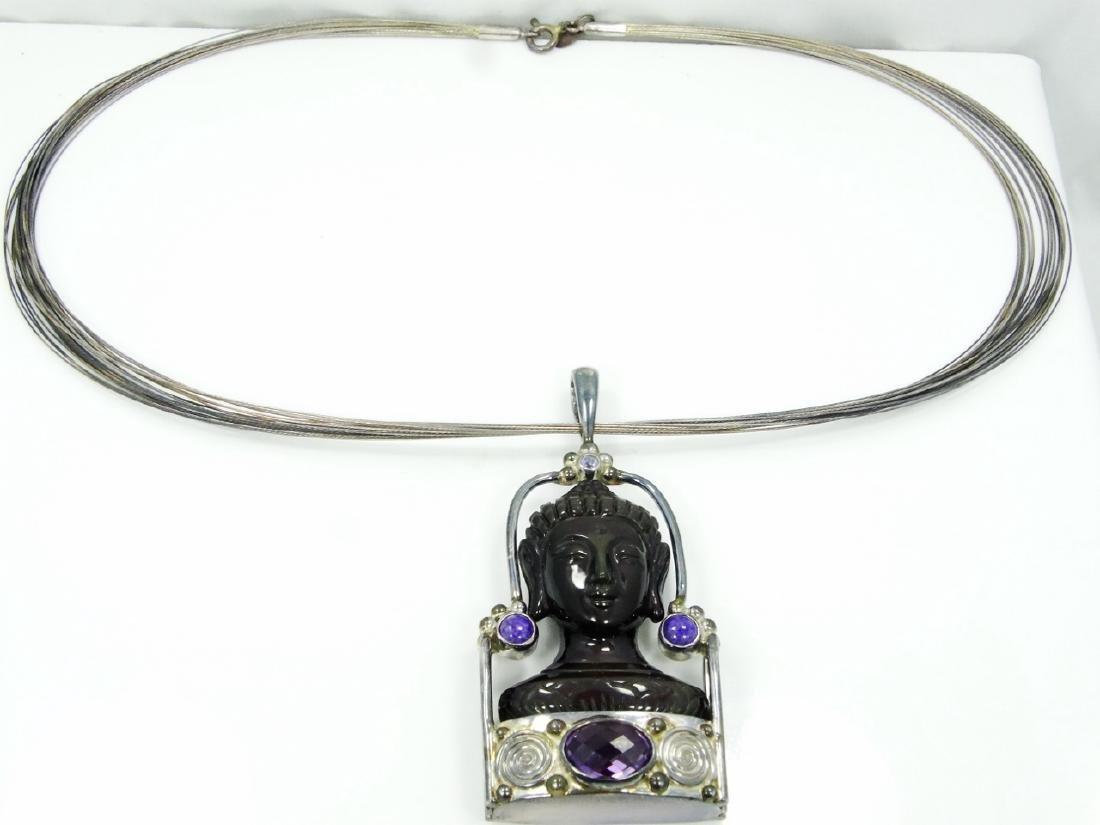Sajen Sterling Silver Obsidian Goddess Pendant - 5