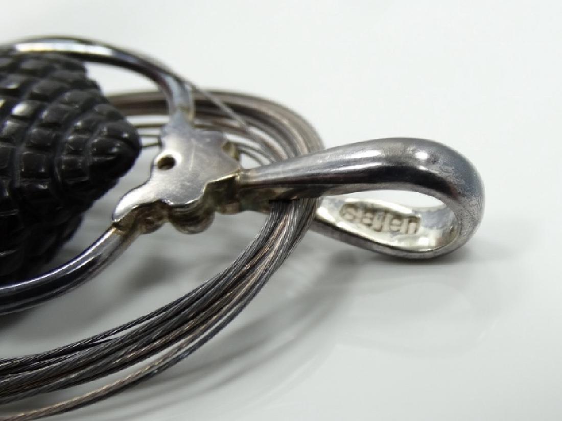 Sajen Sterling Silver Obsidian Goddess Pendant - 6