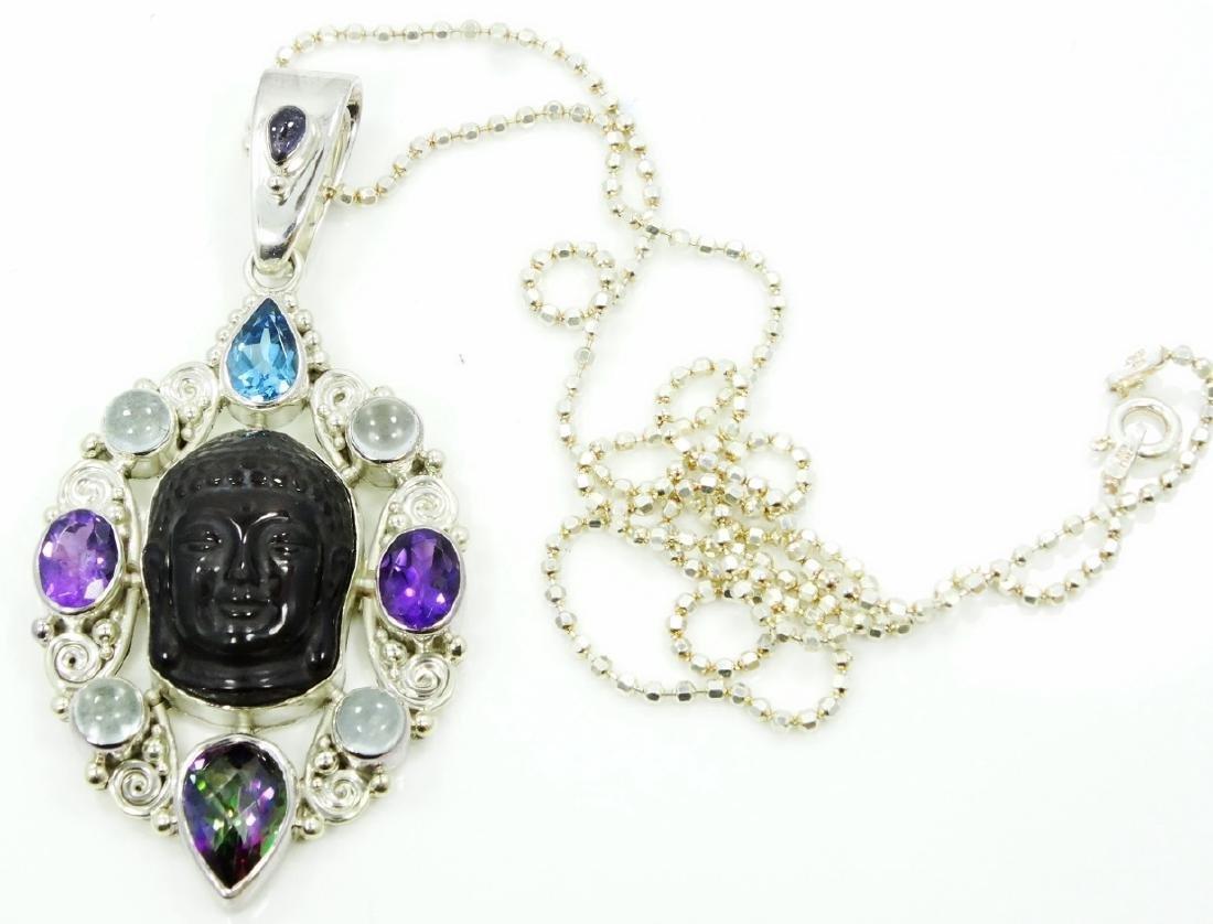 Sajen Sterl Silver & Rainbow Obsidian Pendant