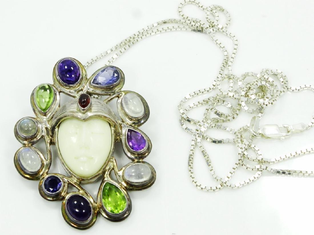 Sajen Sterling Silver & Stone Goddess Pendant