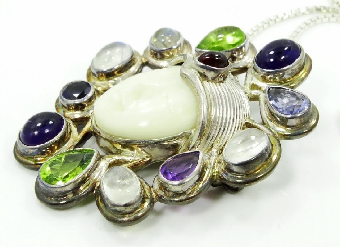 Sajen Sterling Silver & Stone Goddess Pendant - 3