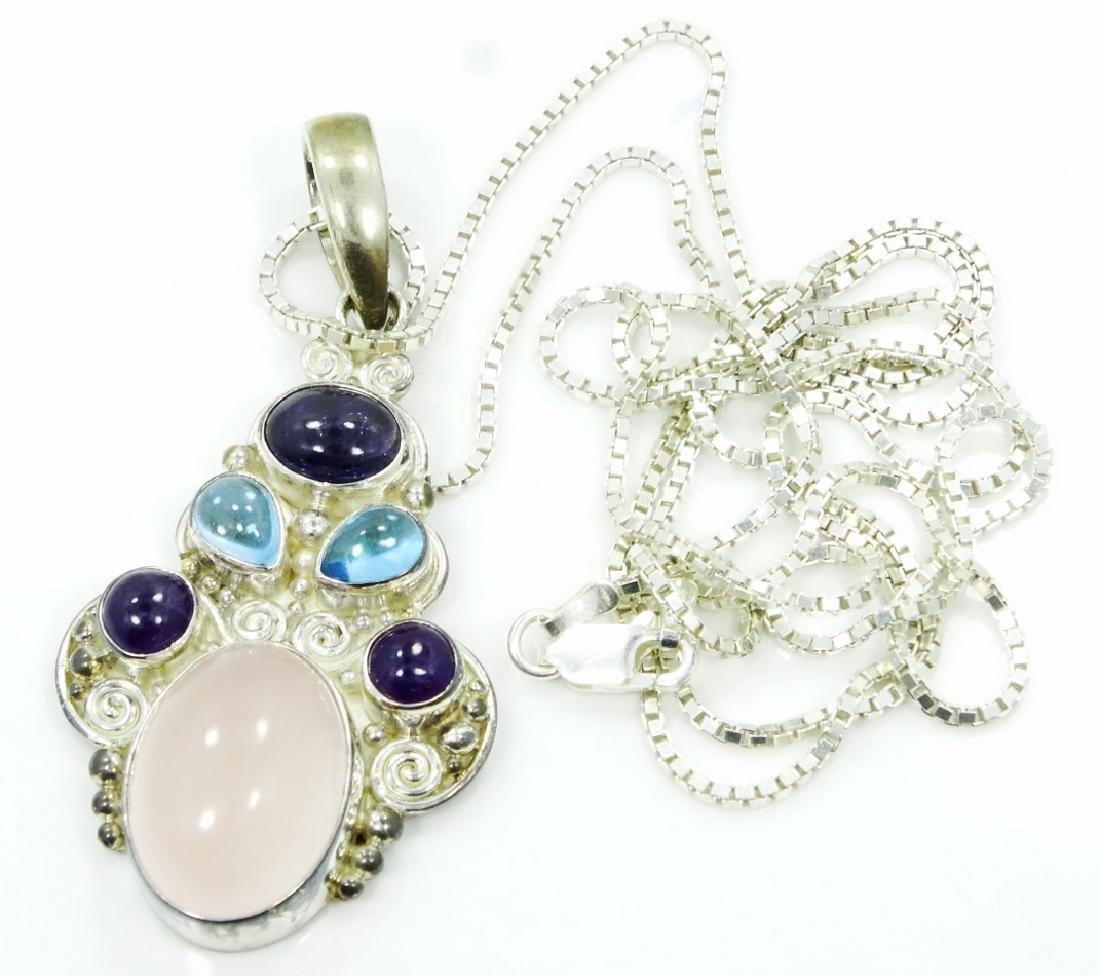 Sajen Sterling Silver & Gemstone Pendant W/Chain