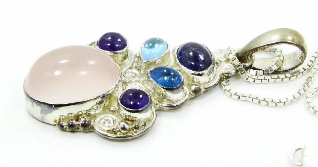 Sajen Sterling Silver & Gemstone Pendant W/Chain - 2