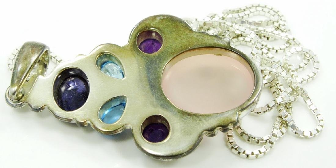 Sajen Sterling Silver & Gemstone Pendant W/Chain - 3