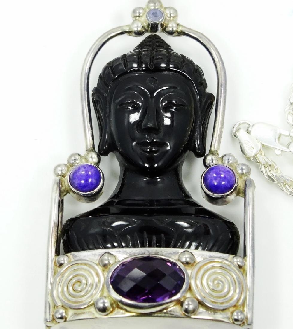 Sajen Sterling Silver Obsidian Goddess Pendant - 2