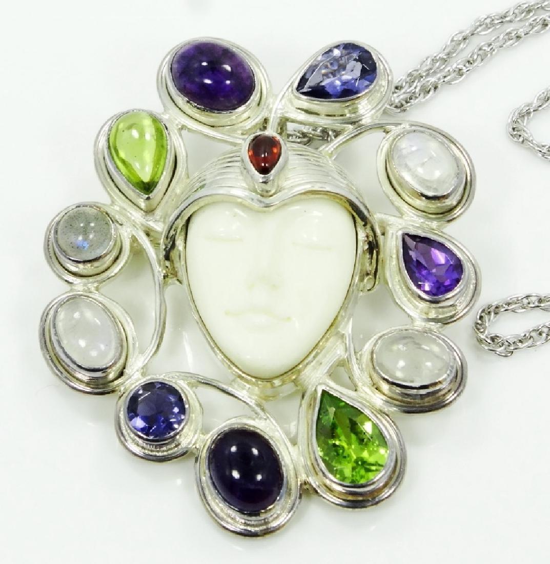 Sajen Sterling Silver & Stone Goddess Pendant - 2