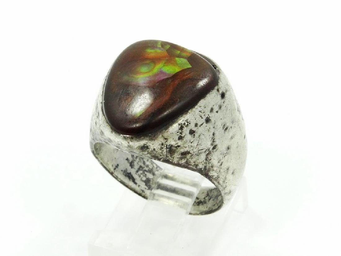 Antique Sterling Silver & Brown Stone Ring
