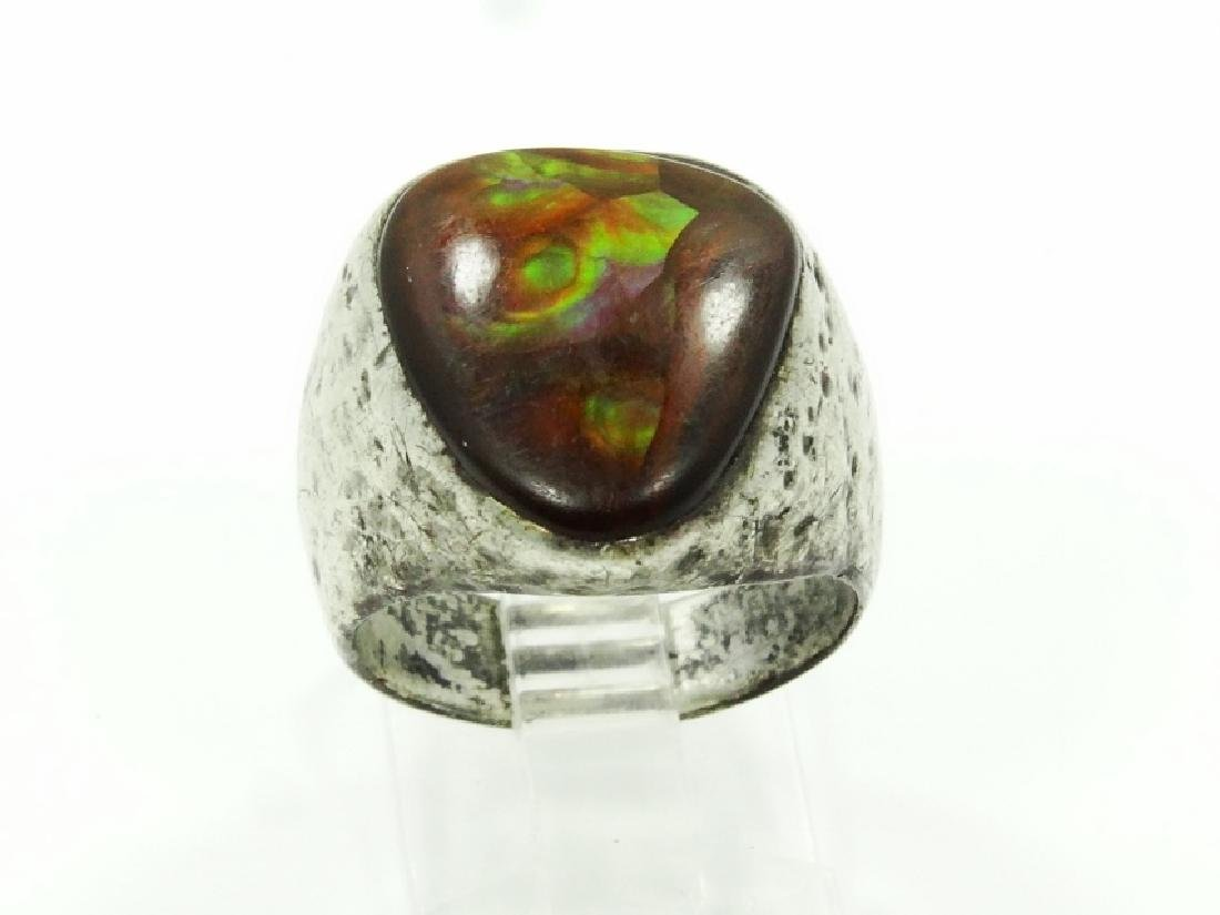 Antique Sterling Silver & Brown Stone Ring - 2