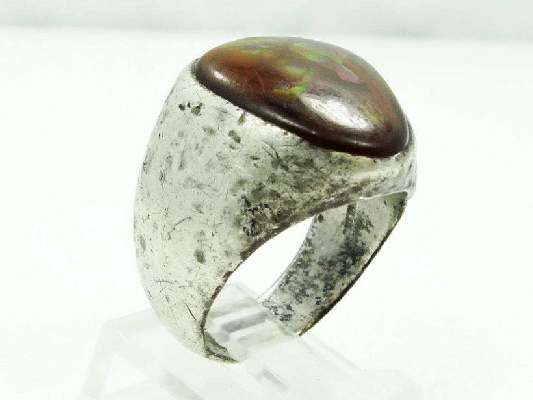 Antique Sterling Silver & Brown Stone Ring - 3