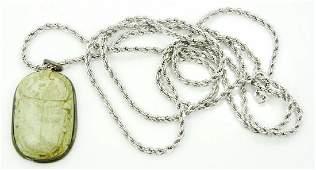 Egyptian Scarab Beetle Pendant W30 Chain