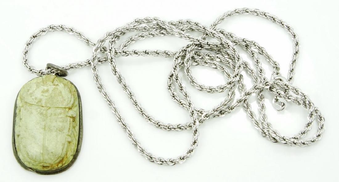 "Egyptian Scarab Beetle Pendant W/30"" Chain"