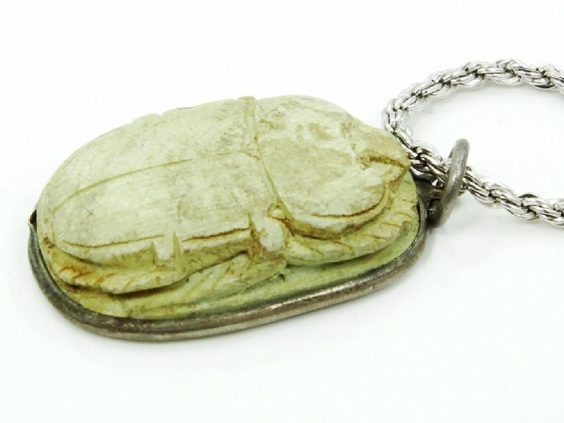 "Egyptian Scarab Beetle Pendant W/30"" Chain - 2"