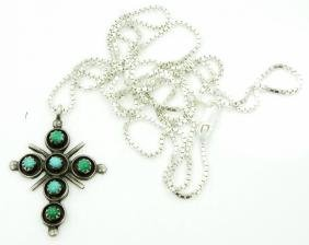 """1.25"""" Sterling Silver & Turquoise Cross Pendant"""