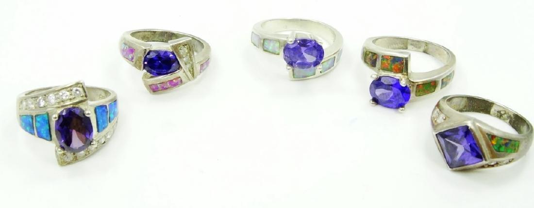 (5) Sterling Silver, Opal Slate, & Gemstone Rings
