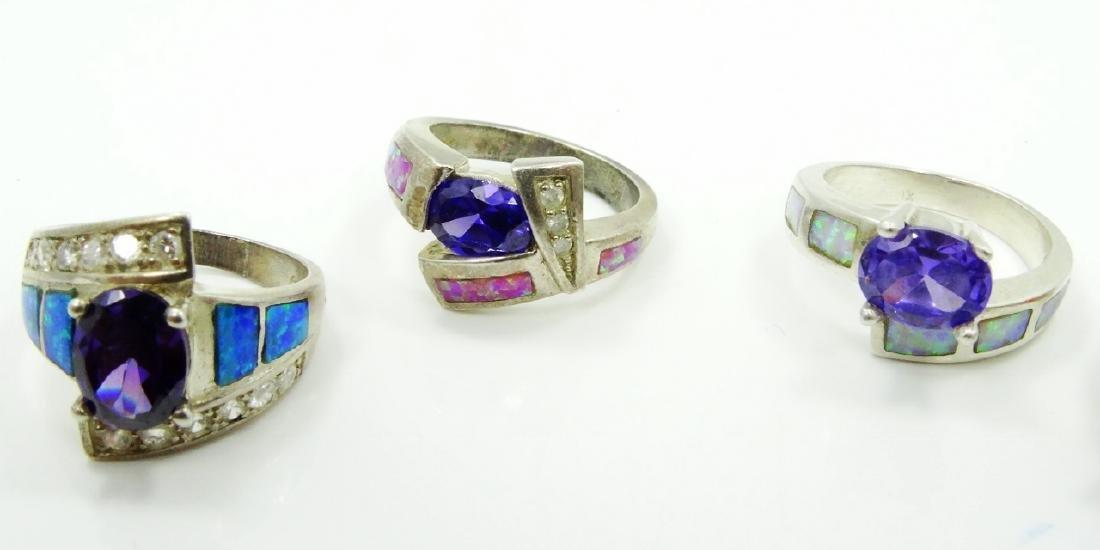 (5) Sterling Silver, Opal Slate, & Gemstone Rings - 2