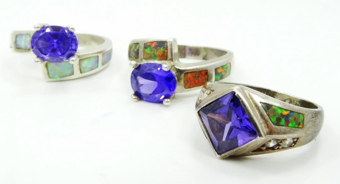 (5) Sterling Silver, Opal Slate, & Gemstone Rings - 3