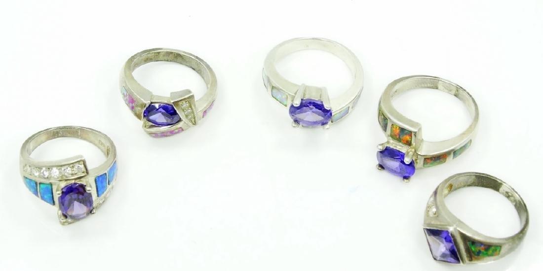 (5) Sterling Silver, Opal Slate, & Gemstone Rings - 4