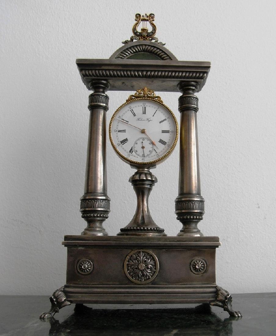 K.Faberge Clock W/Diamond,Gold/Silver & Nephrite