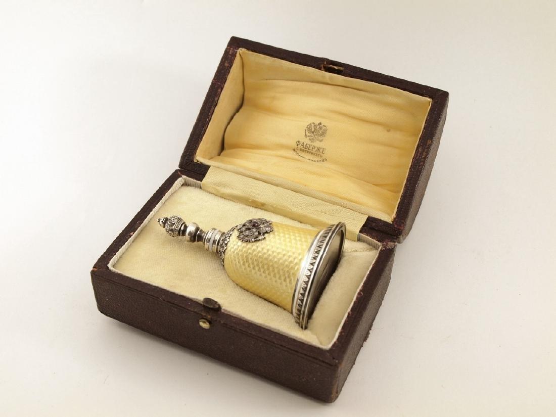 K.Faberge Perf. Bottle W/84 Silver,Diamonds,Ruby