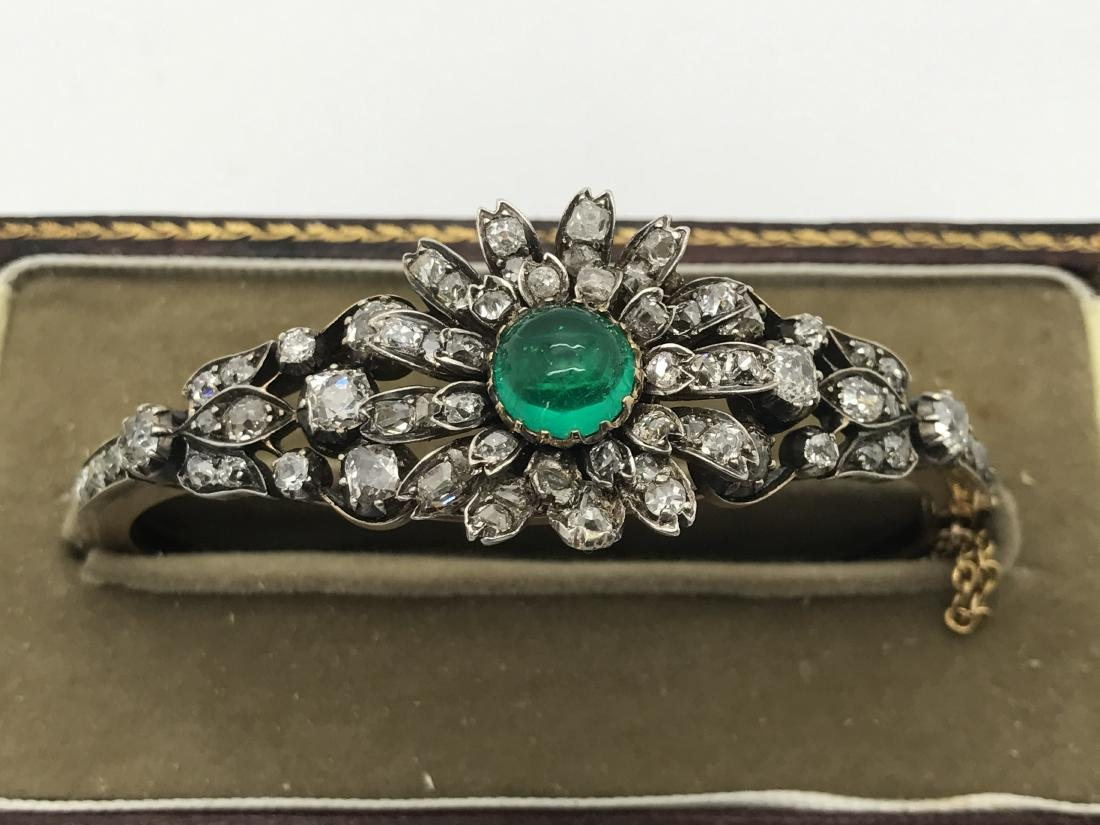 Faberge 7.25ctw Diamond,Emerald 56 Gold Bracelet