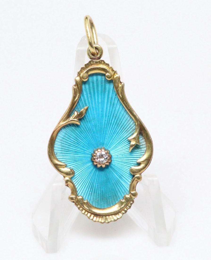 K.Faberge 56 Gold, Diamond & Blue Enamel Pendant