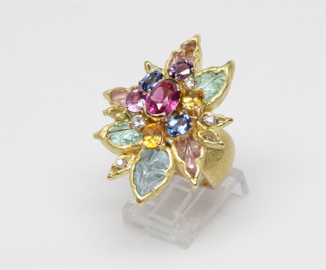 18K 8.50ctw Diamond & Gemstone Ring W/2ct Ruby