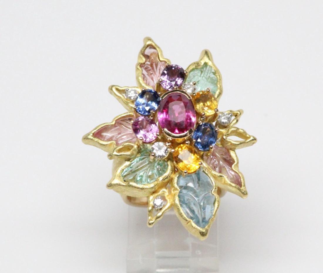 18K 8.50ctw Diamond & Gemstone Ring W/2ct Ruby - 2