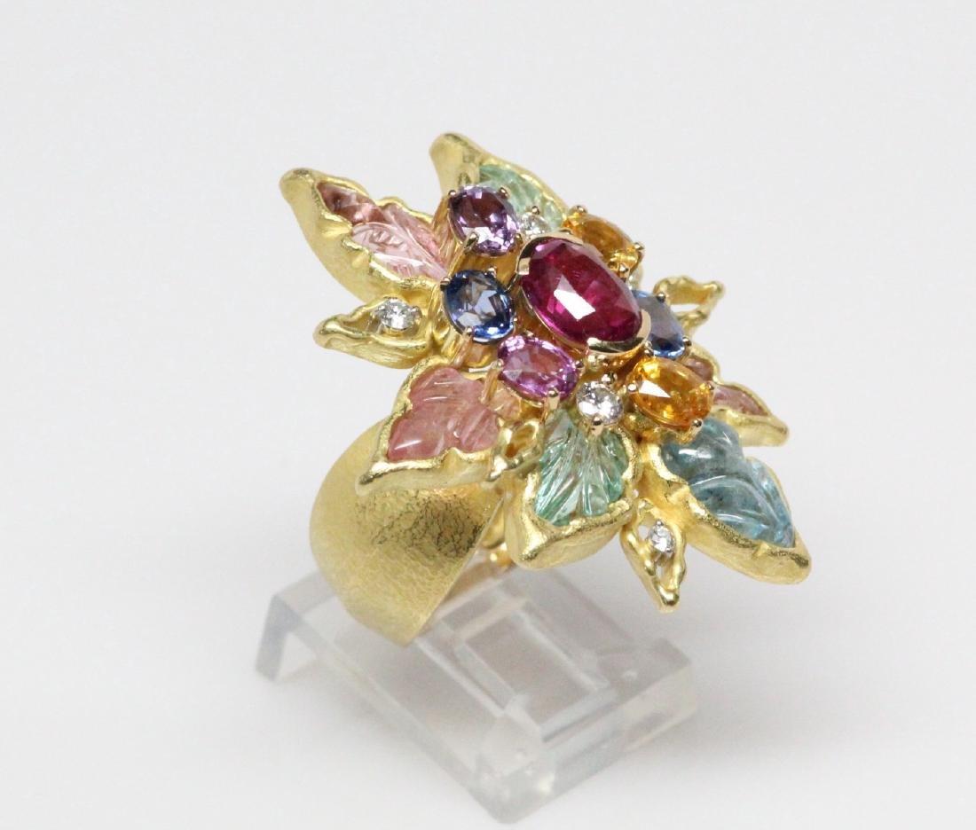 18K 8.50ctw Diamond & Gemstone Ring W/2ct Ruby - 3