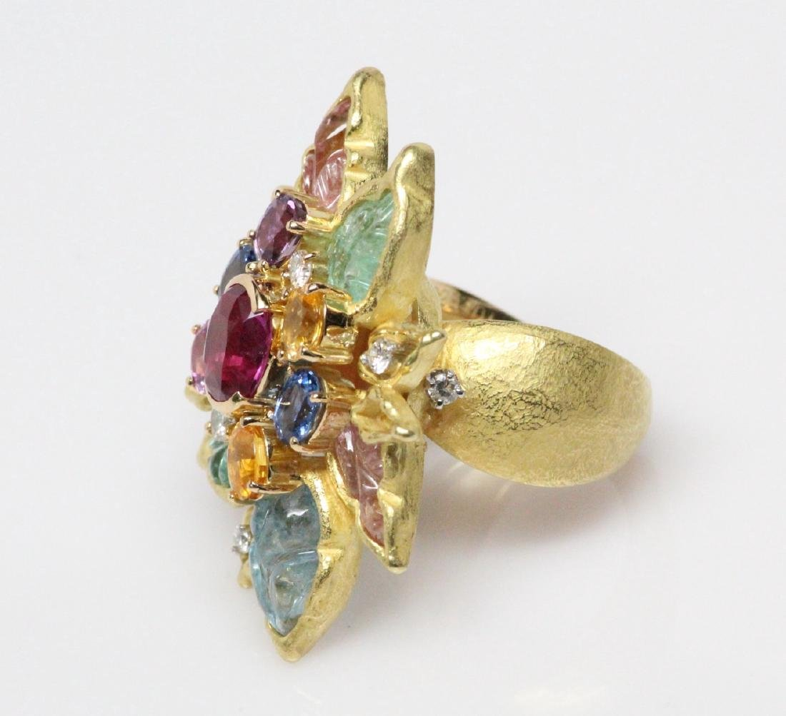 18K 8.50ctw Diamond & Gemstone Ring W/2ct Ruby - 4