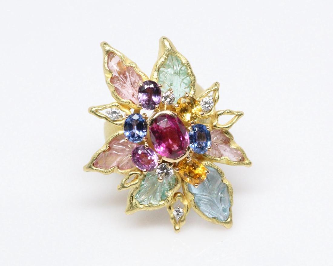 18K 8.50ctw Diamond & Gemstone Ring W/2ct Ruby - 5