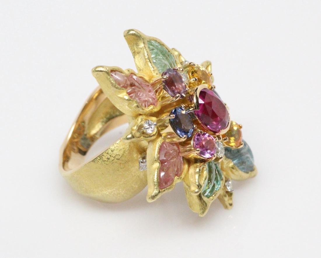 18K 8.50ctw Diamond & Gemstone Ring W/2ct Ruby - 6