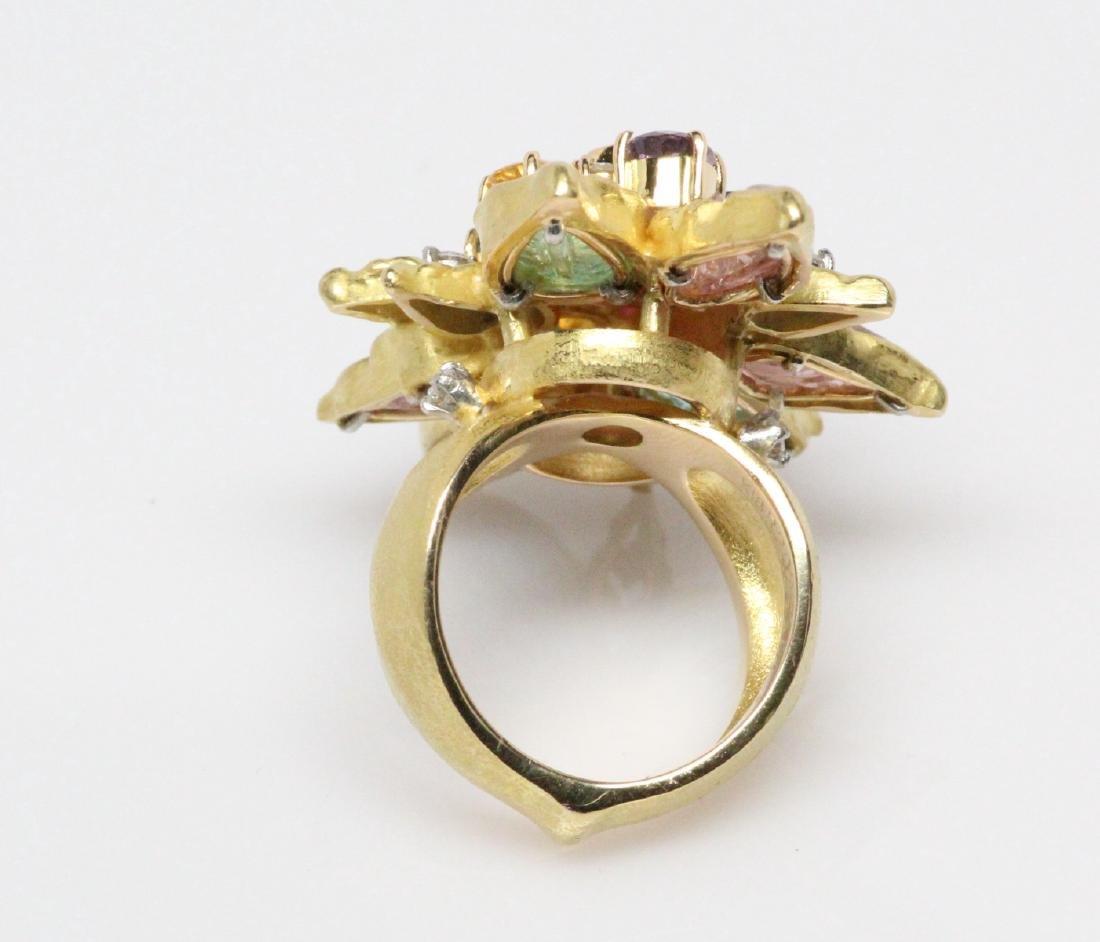 18K 8.50ctw Diamond & Gemstone Ring W/2ct Ruby - 7
