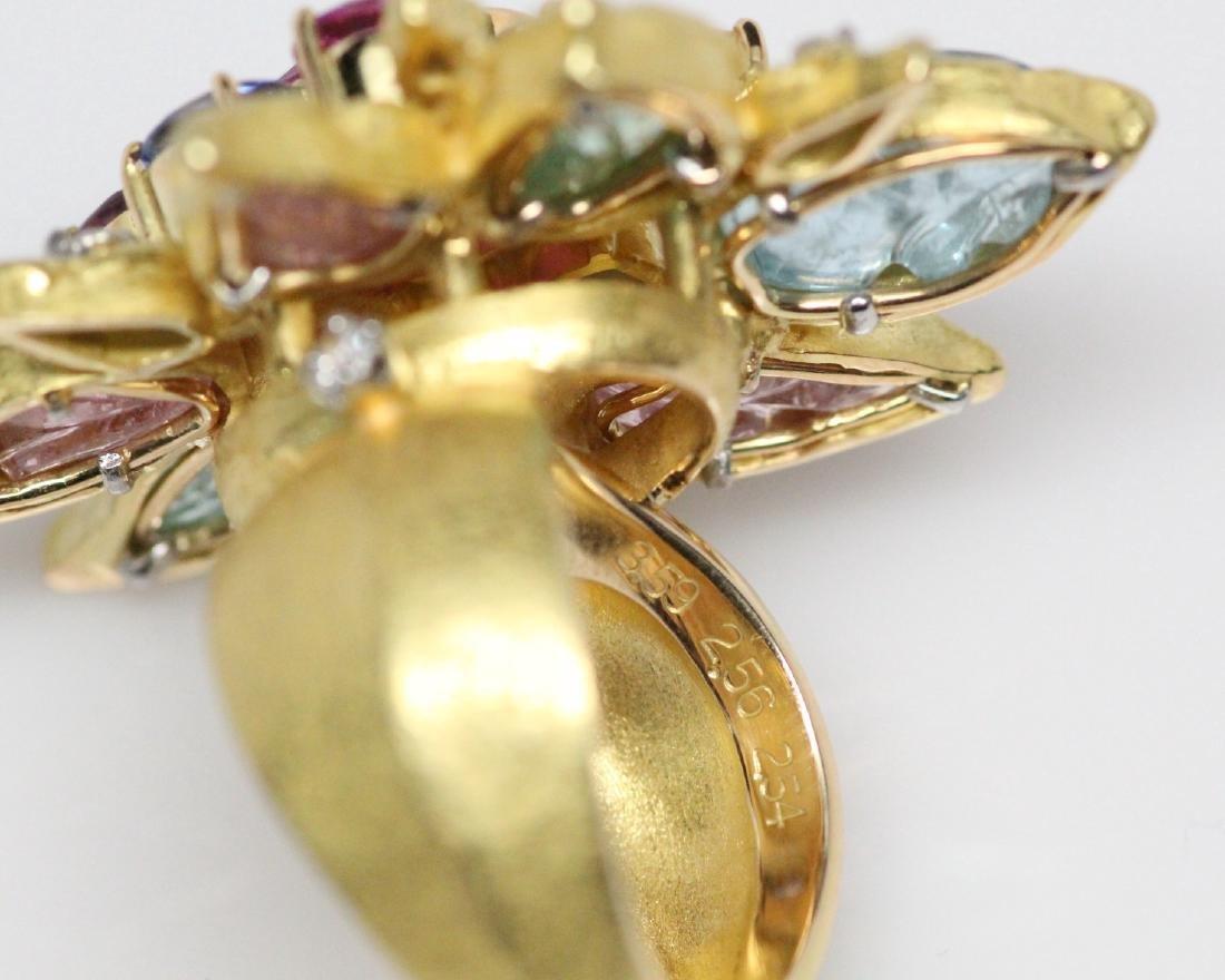 18K 8.50ctw Diamond & Gemstone Ring W/2ct Ruby - 9