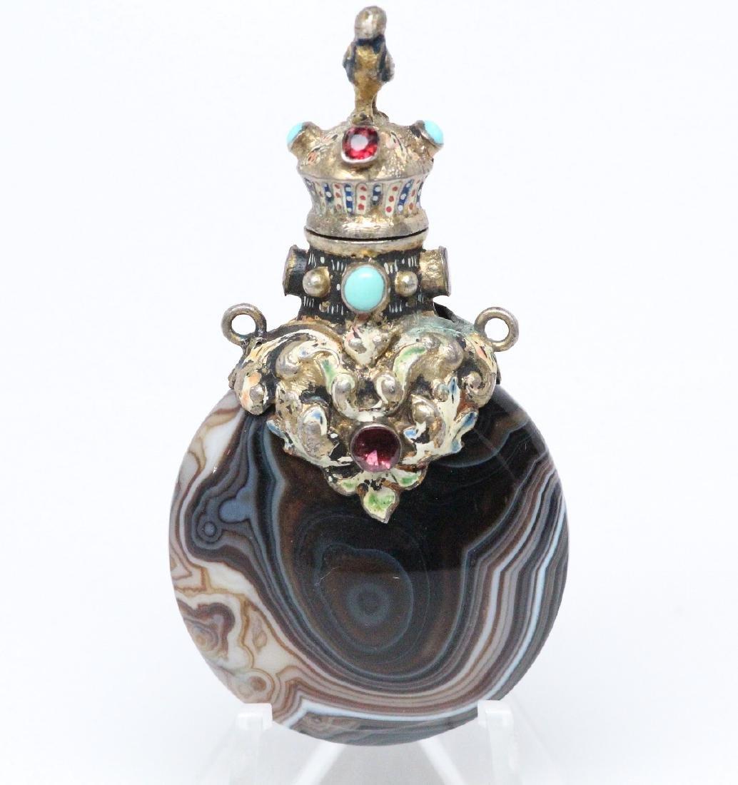 1800's Agate,Ruby,Silver & Enamel Perfume Bottle