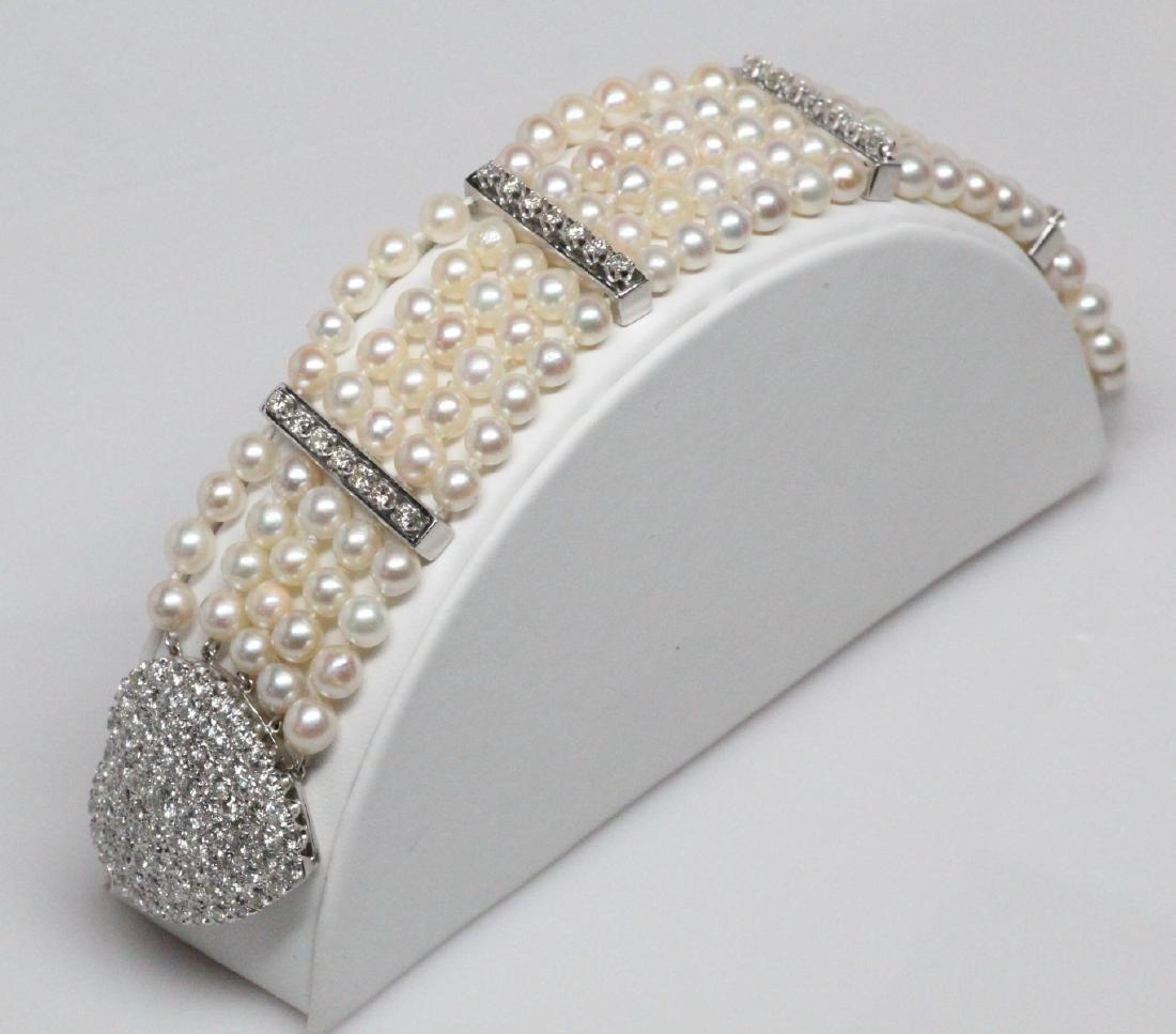 5.25ctw Diamond Akoya Pearl 14K 5-Row Bracelet
