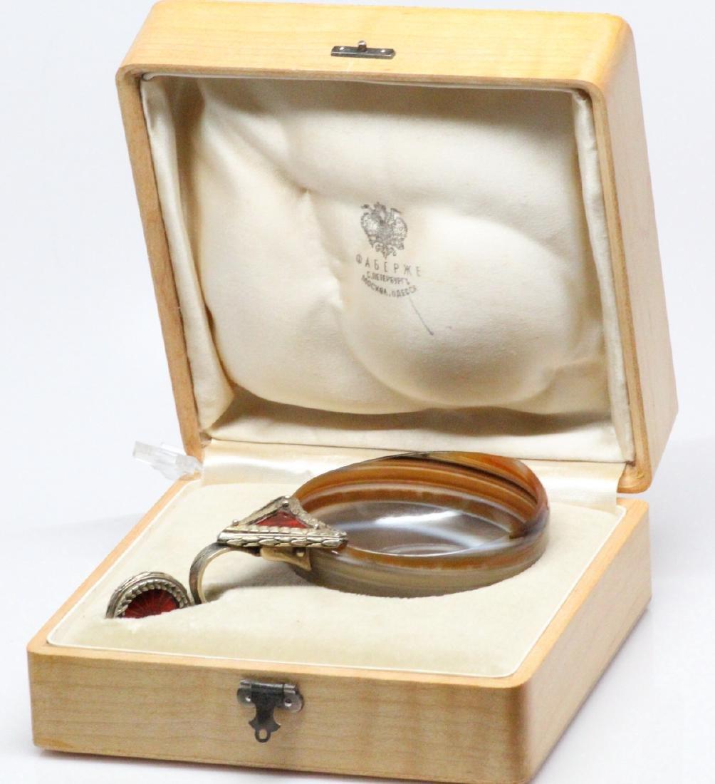K.Faberge Agate Charka W/84 Silver Enamel Handle