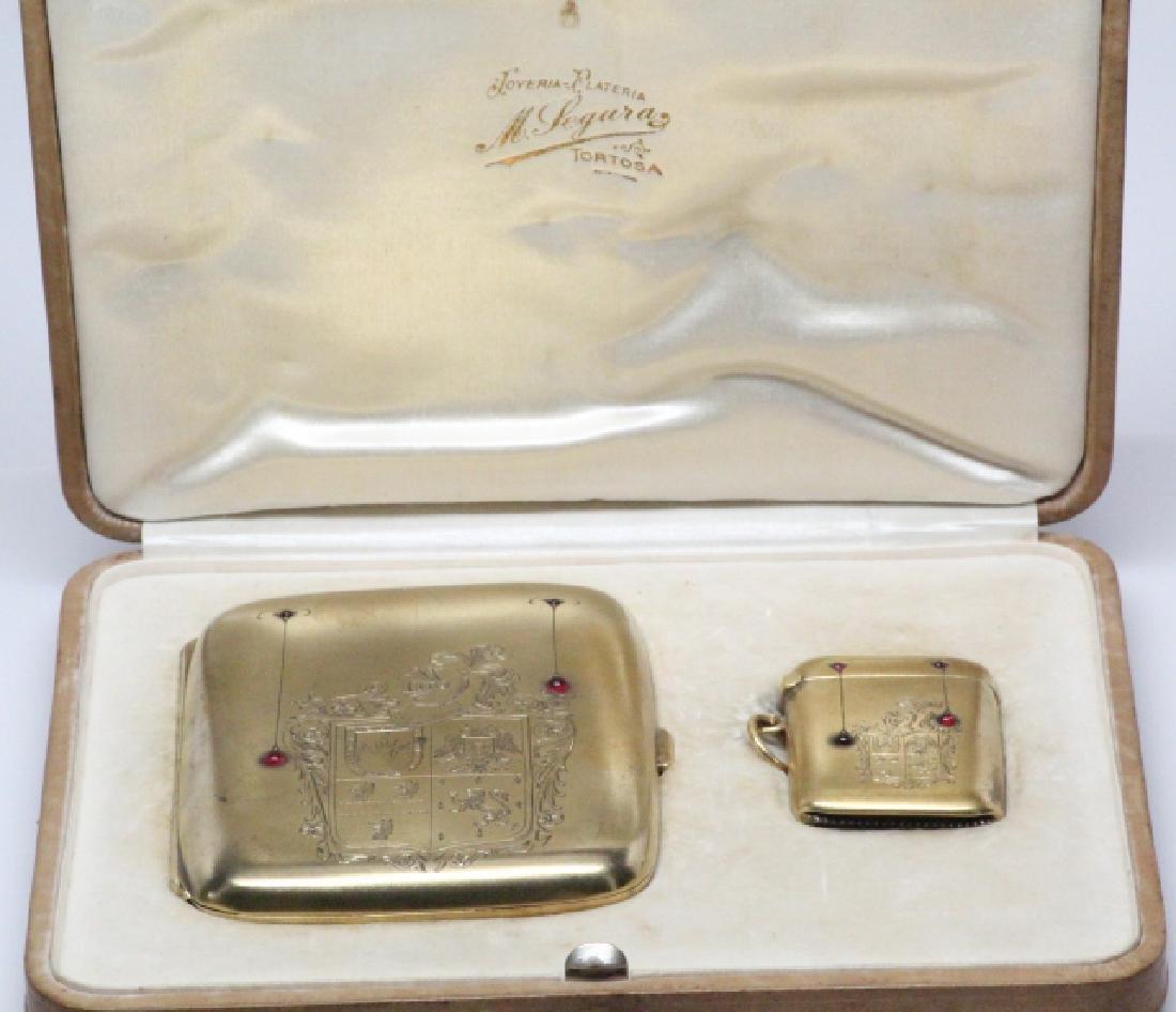 19th C. Silver & Ruby Cigarette Case & Matchbox