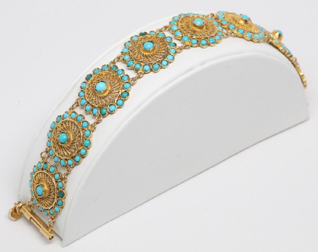 18K Yellow Gold & Turquoise 22.5mm Wide Bracelet