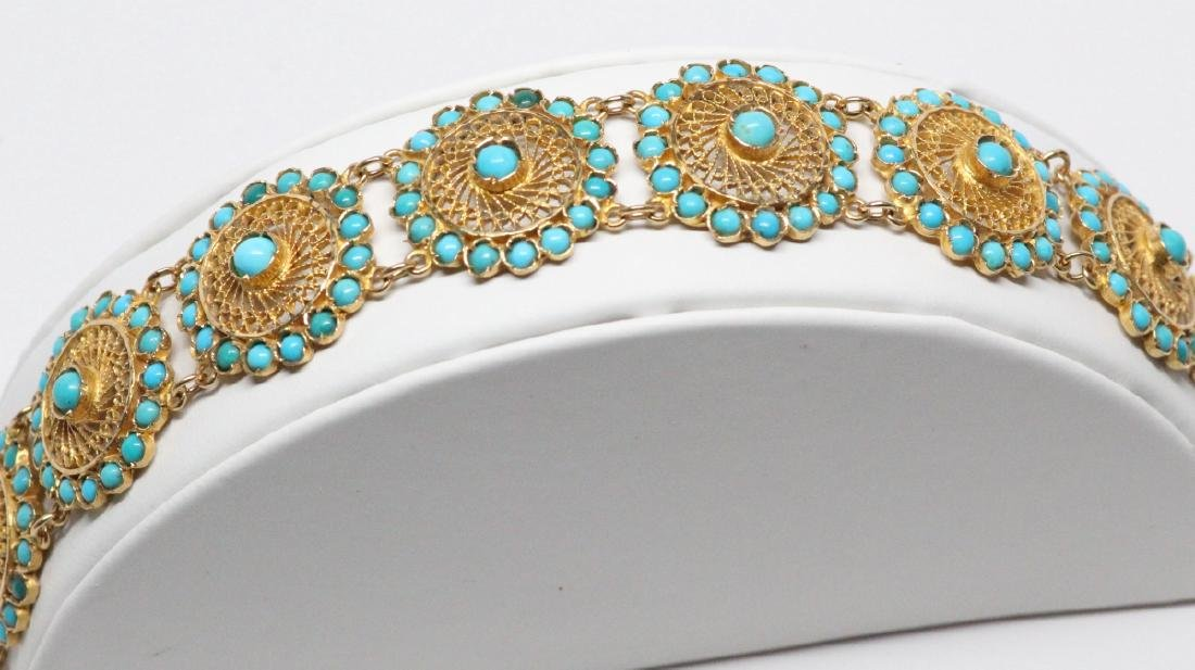 18K Yellow Gold & Turquoise 22.5mm Wide Bracelet - 2