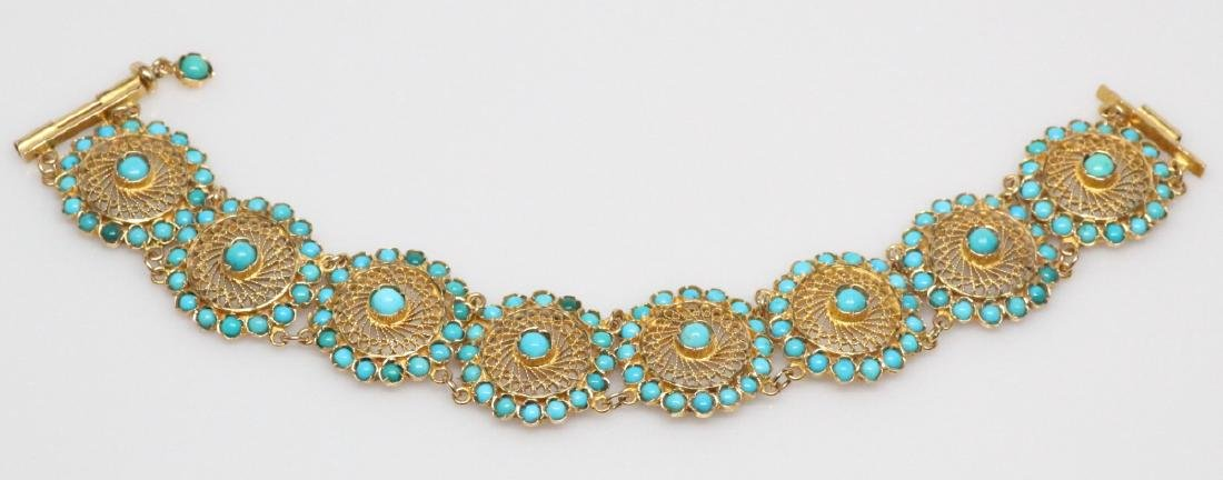 18K Yellow Gold & Turquoise 22.5mm Wide Bracelet - 3