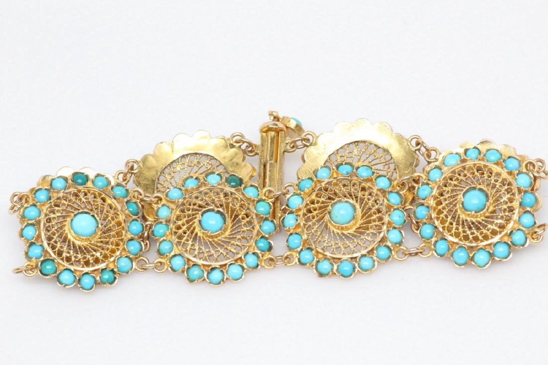18K Yellow Gold & Turquoise 22.5mm Wide Bracelet - 4