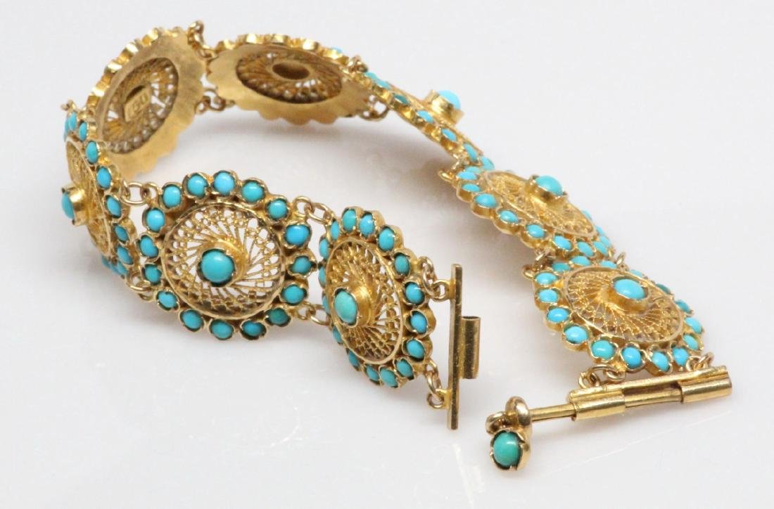 18K Yellow Gold & Turquoise 22.5mm Wide Bracelet - 5