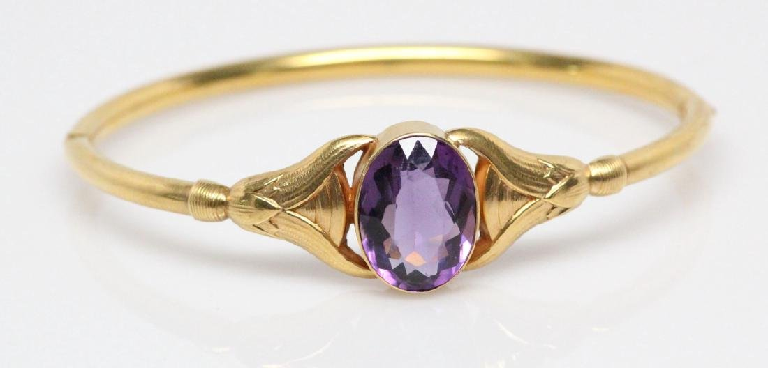 Edwardian 14K & 13ct Gemstone Bangle Bracelet