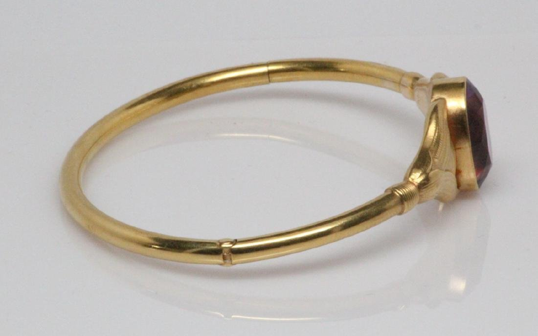 Edwardian 14K & 13ct Gemstone Bangle Bracelet - 3