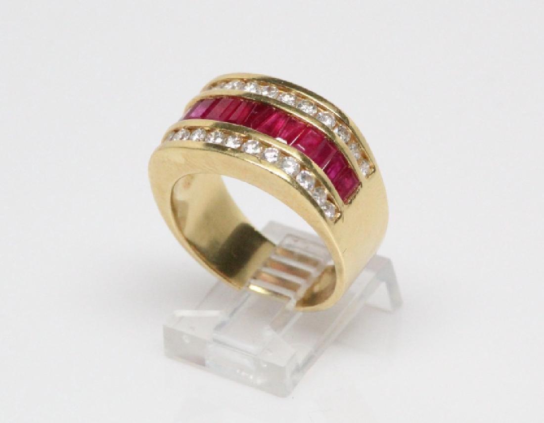 3.50ctw Ruby, 1.50ctw Diamond, & 18K YG 12mm Ring