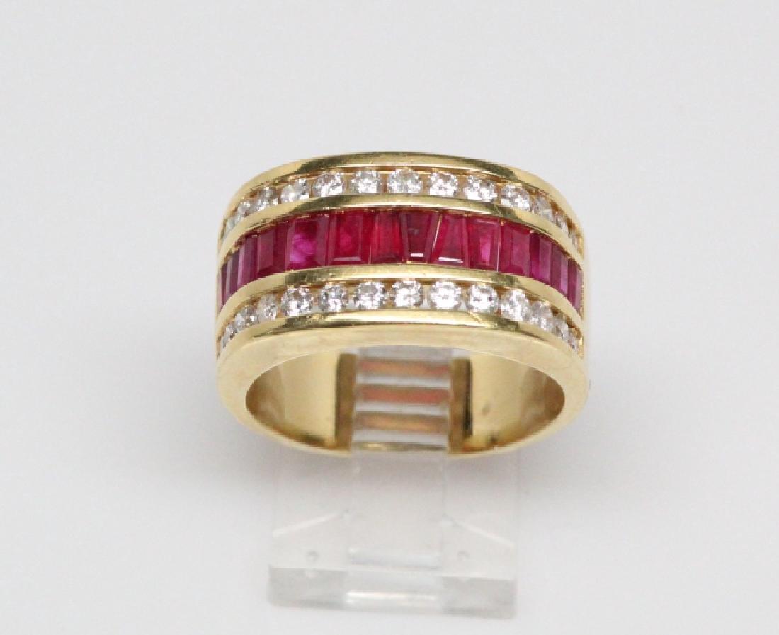 3.50ctw Ruby, 1.50ctw Diamond, & 18K YG 12mm Ring - 2